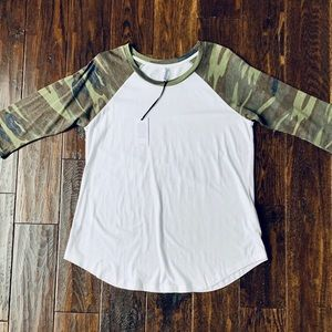 White and and Green Camo Print Baseball Tee